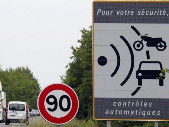 80 km/h Franciaország közút 2018